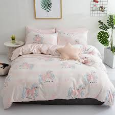white pink 100 cotton bedding set soft bed sheet set king queen single size unicorn duvet cover bedding sets pillowcase bedspreads and comforters sets full