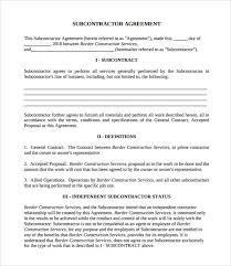 Subcontractor Agreement Format Subcontractor Contract Template 7 Download Documents In Pdf