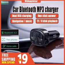 <b>BASEUS T Cat Head</b> S-09A Car Bluetooth MP3 Charger 4.2 Dual U ...
