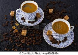 coffee cups with coffee beans. Wonderful Coffee Coffee Cups And Coffee Beans On The Black Background  Csp36868884 With Cups Beans Y