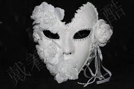 Decorative Masquerade Masks New Handmade white masquerade masks lace floral decor glitter 40