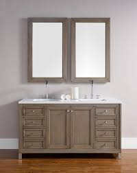 james martin chicago double 60 inch white washed walnut vanity cabinet optional countertops