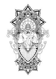 Fototapeta Silueta Ganesha Mandala Orientální Kresba Ilustrace Tetování