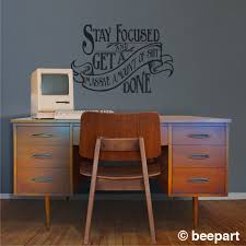 wall decal for office. Motivational Quote Wall Decal, Office Vinyl Sticker Art- WARNING Cuss Word Present, Victorian, Art Nouveau, Get Shit Done, FREE SHIPPING Decal For