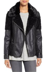 classic vince camuto black mixed media faux shearling moto jacket in women