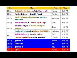 Ipl 2018 Schedule Time Table Final Official Confirmed