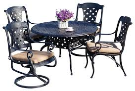 madrid outdoor cast aluminum dining set with 48 round dining table 5 piece
