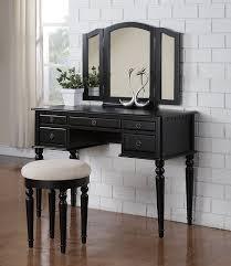 Three Way Vanity Mirror Cool Bedroom Furniture Vanity Design Feat Black Colored Wooden