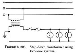 transformers however single phase transformers and single phase lights and motors be connected across any one phase of a three phase circuit as shown in figure