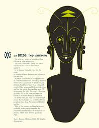 adze vampire. the adze is a vampiric being from ewe folklore in togo and ghana. it normally looks like firefly, but will transform into human shape when captured. vampire illustrationist