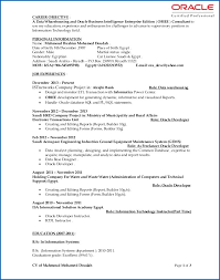 Obiee 11g Developer Resume Obiee Sample Resume Sample Resume