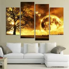 Painting Canvas For Living Room Online Cheap 4 Panel Ancient Tree Printed Universe Space Paintings