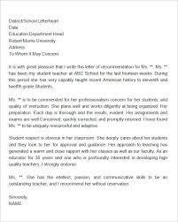 Sample Letter Of Recommendation For A Teacher Position Teacher Reference Letter Sample Letter Of Recommendation For