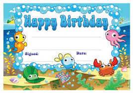 Under The Sea Birthday Chart Happy Birthday Under The Sea School Certificates