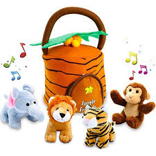 KLEEGER Plush Talking Jungle Animals Toy Set (5 Pcs - Plays Sounds) with Carrier Baby Gifts for 1 Year Old Boy: Amazon.com
