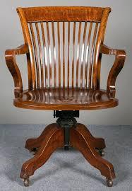 vintage wood office chair antique desk chairs swivel furniture oak restoration hardware
