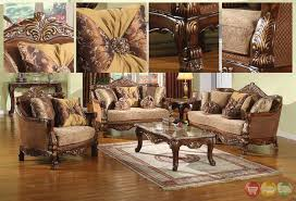 Wooden Living Room Chair Traditional Style Formal Living Room Furniture Brown Sofa Set