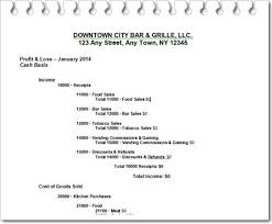 Profit And Loss Statments Profit And Loss Statement For Bar Or Restaurant Open A Bar Com