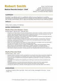 Medical Records Resume. Sample Medical Records Clerk Cover Letter ...