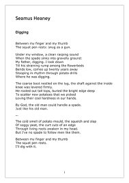 digging by seamus heaney noand question by alisonbcresswell digging by seamus heaney noand question by alisonbcresswell teaching resources tes