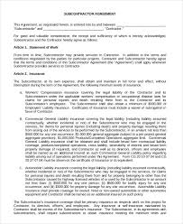 contractor subcontractor agreement form