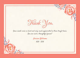 Thank You Note After Funeral To Coworkers Thank You Message After Bereavement