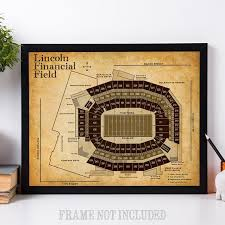 Lincoln Financial Field Football Seating Chart Art Print 11x14 Unframed Art Print Great Sports Bar Decor And Gift For Football Fans