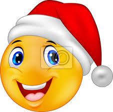 Naklejka Uśmiechnięta buźka emotikon w kapelusz santa na wymiar • żółty,  człowiek, wesoły • REDRO.pl