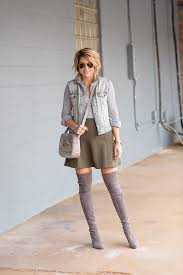 style archives seerer and saddles blogger shoes skirt denim jacket green skirt knee high boots