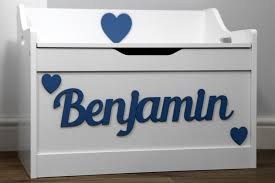 custom wooden toy box personalised new boys or girls large white storage chest blue text