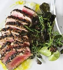 sesame seared tuna with lime ginger vinaigrette steamy kitchen recipes food network trishasea