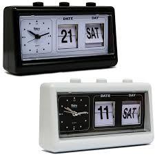 vintage retro quartz alarm clock flip date day time display black white