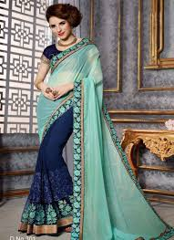 Glitter Designs Sarees Lovely Turquoise Navy Blue Embroidery Cut Work Glitter