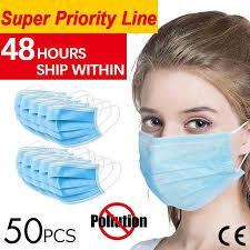 <b>50pcs Anti-Pollution Face Masks</b> Ordinary Nonmedical Disposable 3 ...