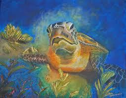 tasman turtle acrylic portrait