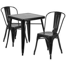 23 75 square black metal indoor outdoor table set with 2 stack chairs