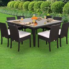 outdoor dining sets for 8. Rattan Patio Furniture Sets With Fresh Fruits On The Table And Rectangular Outdoor Dining For 8