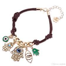 lucky fatima hamsa hand evil eye bracelet for women leather pendant knit link friendship jewelry bracelets bangles charm bracelets for women gold charm