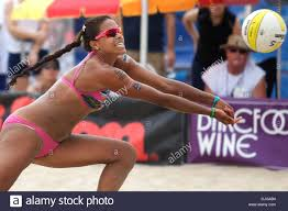 Priscilla Lima digs out a kill during a quarterfinal match, during Stock  Photo - Alamy