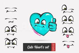Large png 2400px small png 300px. Set Cartoon Emotion Heart Face Valentine Graphic By Kapitosh Creative Fabrica In 2020 Emotion Faces Heart Face Sketches Of Love