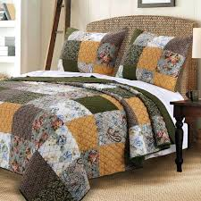vintage country paisley patchwork gold brown green cotton reversible 3 piece quilt shams set green and