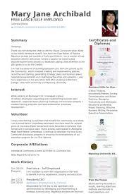 Self Employed Resume Template Classy Self Employed Resume Samples VisualCV Resume Samples Database Resume