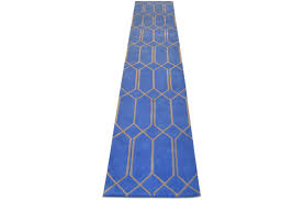 geometic blue and beige runner rug