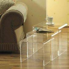 3pc Clear Acrylic Stacking Nesting Table Set - End Coffee Side Accent Tables