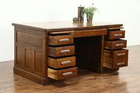 antique office table. Quarter Sawn Oak 1900 Antique Library Or Office Desk, Raised Panels, Table Y