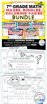 7th grade math mazes riddles coloring pages fun math activities