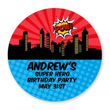 Personalized Superheroes Calling All Superheroes Round Personalized Birthday Party Sticker Labels