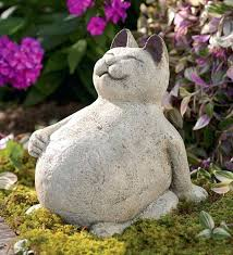 zen cat garden sculpture volcanic ash lucky cat outdoor zen cat garden statue