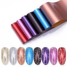 <b>8 Pcs Mirror</b> Effect Nail Foil Set Colorful Nail Transfer Stickers 4 ...