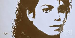 original painting original black an white acrylic paint art portrait of michael jackson